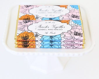 Blooming Garden Flowers Personalized Candy Bar Wrapper. Choice of Gold, Silver, Gold Copper, Copper or Black Foil included.