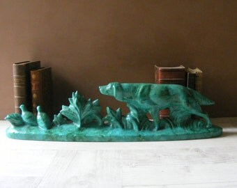 French ART DECO Large Glazed Ceramic Statue,Pointing Dog and Partridges.