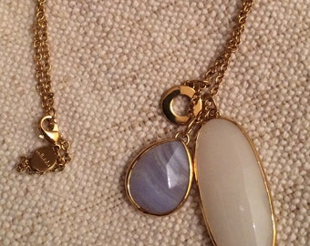 Stella & Dot Charm Necklace in Gold with Neutral and Lilac Tone Charms