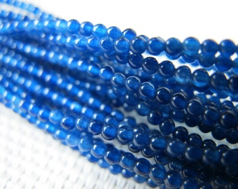 2mm Blue Agate Round Beads S220