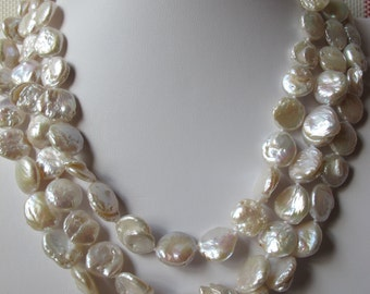 14-15mm White Coin Pearls Necklace 37