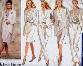 3144 Butterick Sewing Pattern Petite Jacket Blouse Skirt Pants Size 12 14 16 Vintage 1980s