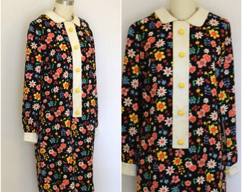 70s Retro Patterned Dress/ Schoolgirl Dress/ Pop Floral Cotton Dress/ Womens Size Small to Medium