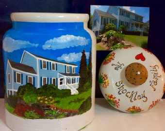 House Warming Cookie Jar Hand Painted