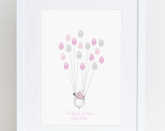 Baby Shower guest book, Keepsake art, thumb print balloons, Baby shower , nursery art, baby girl decor,custom art, flamingo,  My love bubble