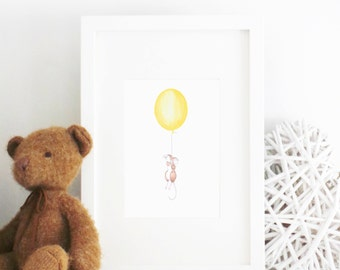 Baby decor - mouse and floating balloon - nursery art - animal art print -  drawing