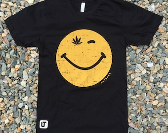 Black Smiley Face Weed T-shirt - USA MADE - American Apparel EXTRA Small
