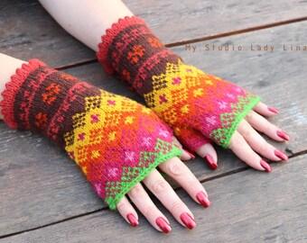 Handknit Fingerless Mittens, Fingerless Arm Warmers Fingerless Gloves, Wrist Warmers, GIFT WRAPPED