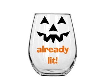 halloween wine glass, already lit, fall wine glass, here for the boos, halloween party wine glass