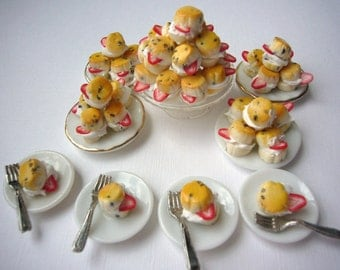 12th scale clotted strawberry and cream scones for  a miniature treat in your dollhouse