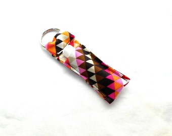 Pink and Brown Triangles Chapstick Keychain - Geometric Lip Balm Holder Cozy