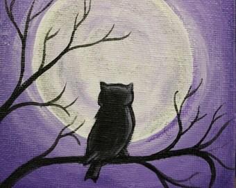 Midnight Owl, Owl Painting, Original hand painted, 4x4 miniature painting