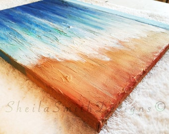 Textured Beach Scene, Original Painting by Sheila A. Smith