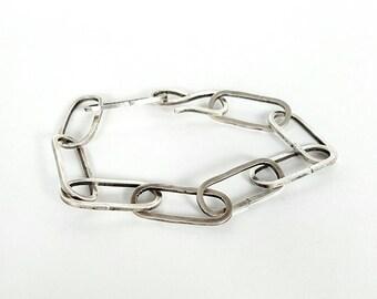Handmade heavy link sterling silver chain bracelet