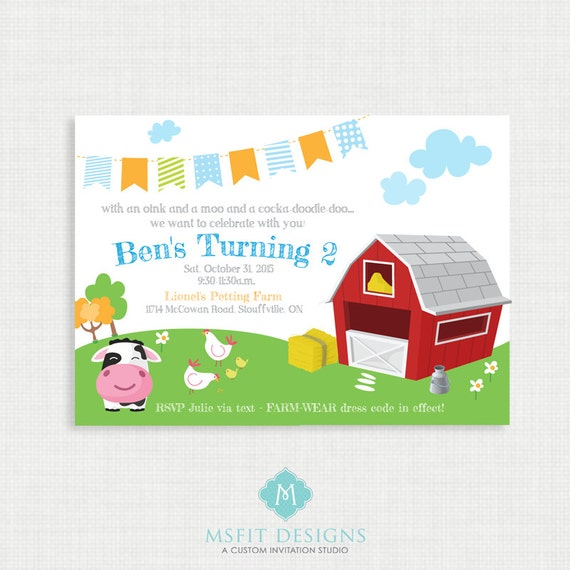 Printable Birthday Invitation- Farm Birthday Invitation, Farm animals Birthday Party Invitations, DIY,  Printable Template