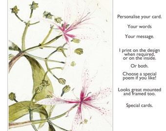 Handmade greetings card, Greetings Card, Birthday Card, Handmade Card, Artist card, Sympathy card, anniversary  card, 'Timeless'
