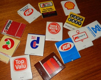 Set of 13 Vintage Matchbooks from Various Stores