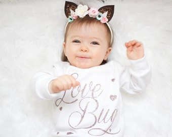 Glitter Love Bug Slouchy Long Sleeve Shirt for Babies and Toddlers