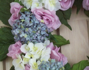 Hydrangea Wreath, Rose Wreath,  Spring Wreath, Summer Wreath, Door Wreath, Wall Wreath, Mothers Day Gift, Home Decor, Housewarming Gift