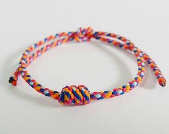 Thai Buddhist Monk Blessed Multicolor Cotton Friendship Wristband Bracelet  Handmade