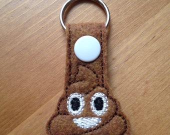 Keychain - poop emoji - ice cream emoji - zipper pull - key fob