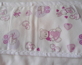 Burp Cloth with pink teddy bears and rabbits on white background
