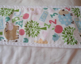 Burp Cloth with cows, sheep, pig,letters and numbers on white back ground