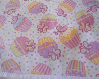Burp Cloth with pink cup cakes on white back ground