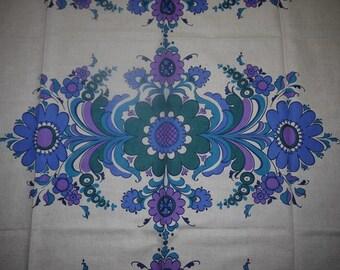 Table Cloth - 60s - Retro - Fabric - Craft - Sweden - Scandinavian Design - Folk Art - Country -