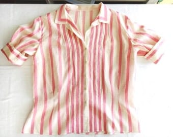 Pink & White Candy Striped Blouse