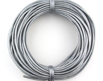 Gray Metallic Round Leather Cord 1.5mm 25 meters (27 yards)