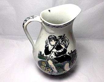 Dick Whittington, Circa 1869, Antique Water Jug, Clay Ware, British Pottery, Diamond Mark, British Design, Antique Pitcher, English Folklore