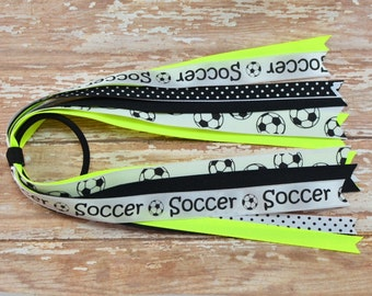 Neon Yellow Soccer Bow, Neon Soccer Hair Bow, Ponytail Hair Bow, Sports Hair Bows, Streamer Hair Bow, Soccer Hair Bows, Soccer Bows