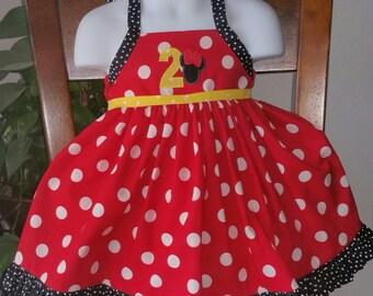 Minnie Mouse Halter Top Birthday Dress - Birthday Girl Dress - 1st Birthday Outfit - 2nd Birthday Outfit - Winnie the Pooh