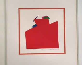 "Daniel Gelakoska Original Limited Edition Print - ""RED RISING"" - Pencil Signed 1982"