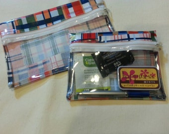 Purse Organizers - Makeup Bag - Zipper Pouch - Michael Miller Patchwork Plaid. Laminated Cotton with See-thru Front