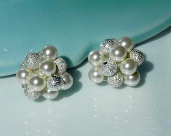 Bridal Pearl Cluster Earrings, bridal stud earrings, wedding, bride, elegant cluster earrings, KATHERINE clusters