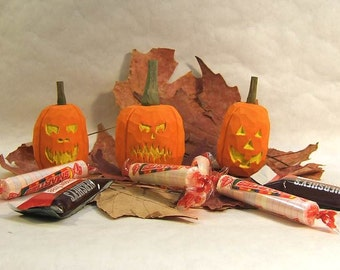Handmade Jack O'Lantern Pumpkin Wood Carving Halloween Home Decor