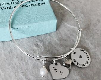 Personalized teacher bracelet love teach inspire teacher gift Christmas birthstone bracelet hand stamped custom monogrammed