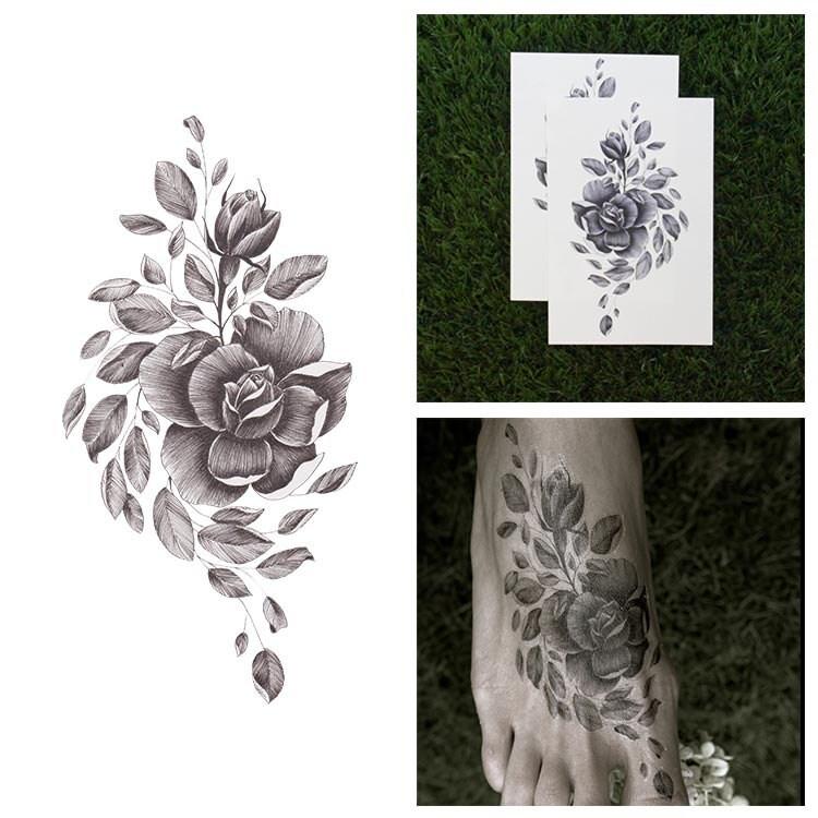 Tattify flower temporary tattoo shakin 39 like a leaf set for Rose and leaf tattoos