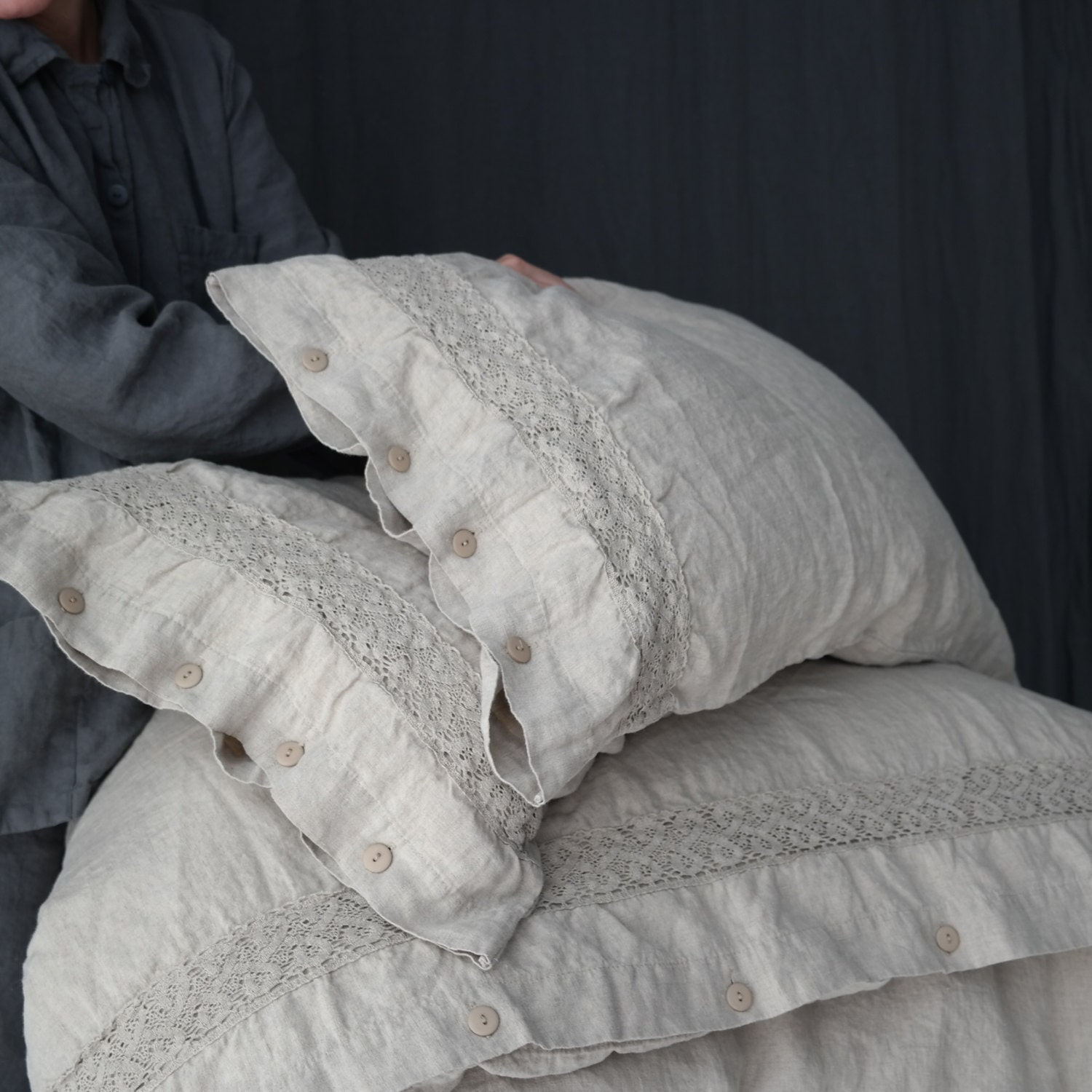 LINEN DUVET COVER set of duvet cover and pillowcases with lace. Natural  French linen bedding set. Made by MOOshop.*1