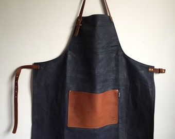 Denim and leather apron, barber apron, barista apron, chefs apron, cooks apron, mens apron, tattooist apron, kitchen apron, gift apron