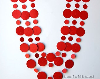 MA, Red garland, Birthday decorations, Party garland, Red tomato garland, Paper garland, Red Wedding, K-C-0111