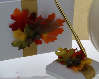 Fall Wedding Guestbook and Pen Set / Wedding Accessories / Leaves