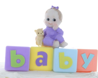 Baby Gril Baby Block Cake Topper/ Baby Shower/ Baby Cake Topper