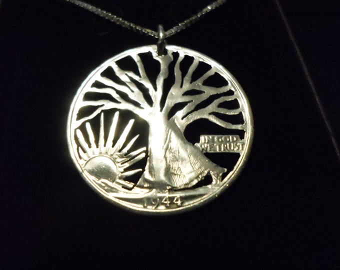 "Walking Tree half dollar w/20"" sterling silver chain"