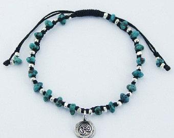 Handmade Genuine Turquoise Gemstone Silver Charm & Beads  Black Macrame OM Bracelet