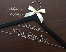 Double line hanger, wedding photos, bridal, Wire wrapped hanger with ribbon, name hanger, bridal hanger, bridesmaid hanger, hanger, bride