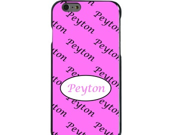 Hard Snap-On Case for Apple 5 5S SE 6 6S 7 Plus - CUSTOM Monogram - Any Colors - Pink Grey Oval Name