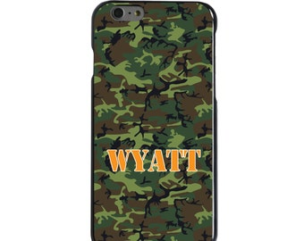 Hard Snap-On Case for Apple 5 5S SE 6 6S 7 Plus - CUSTOM Monogram - Any Colors - Green Camo Camouflage Name